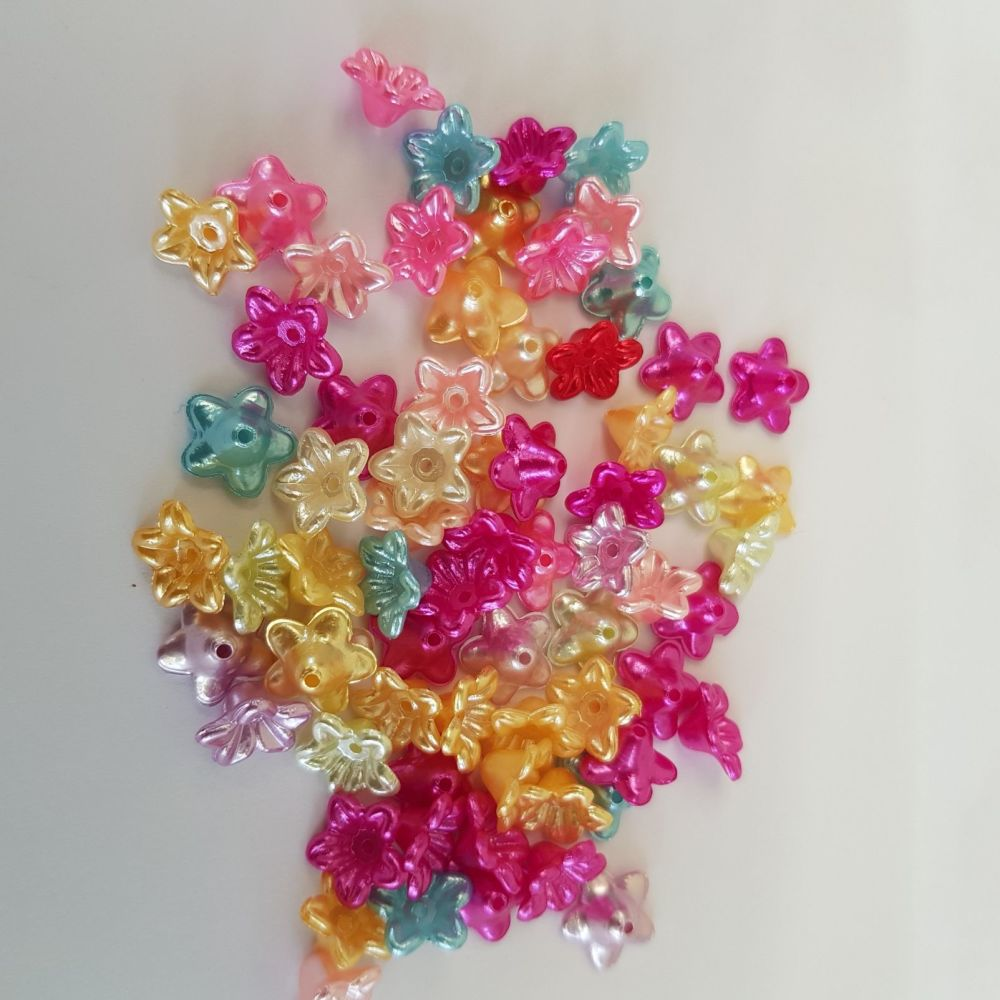 Imitation pearl flower beads 10mm mixed colours