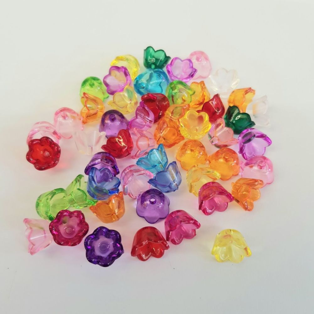 Flowers 50 'Lucite' Acrylic Beads, Frosted mixed