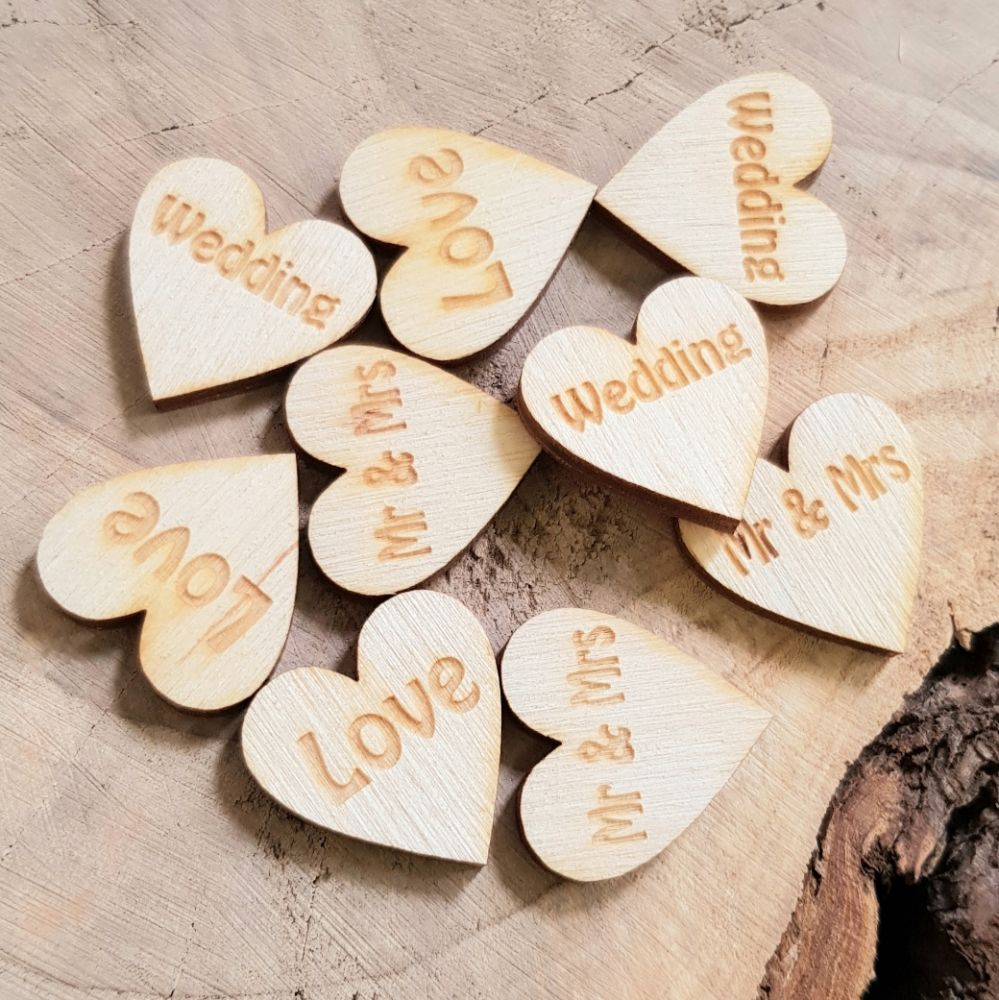Personalised wooden hearts, confetti,
