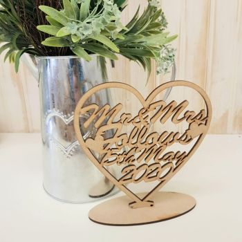 Laser Cut Custom named heart plaque 2