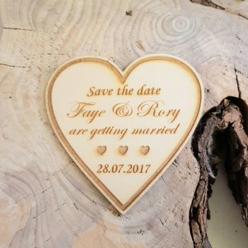 Personalised heart save the date wood