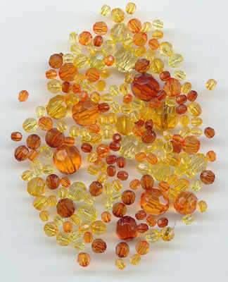 Acrylic Faceted beads assorted sizes gold