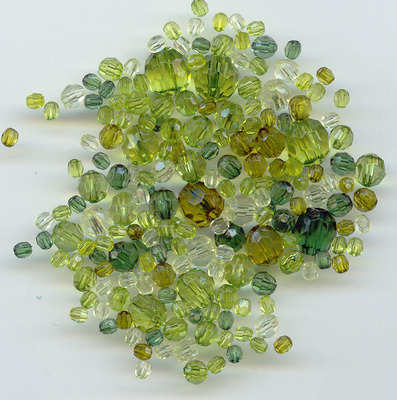 Acrylic Faceted beads assorted sizes green