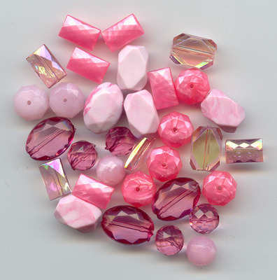 Large Acrylic Faceted Beads Pink