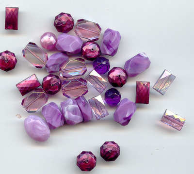 Large Acrylic Faceted Beads Purple