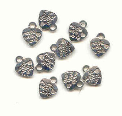 Tibetan silver heart charms 'made with love' 12.5mm