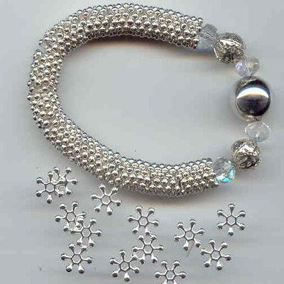 Silver Colour snowflake style spacers 10mm