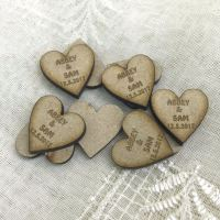 Personalised heart, favours, confetti, decoration