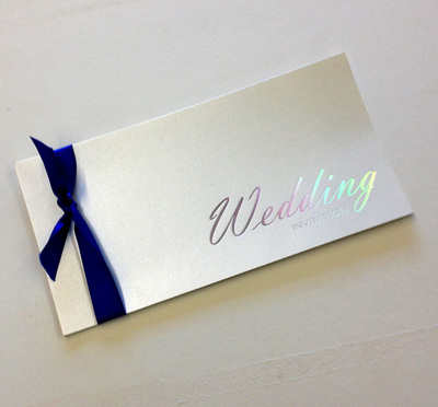 Cheque book wedding invitation Medium text silver on quartz