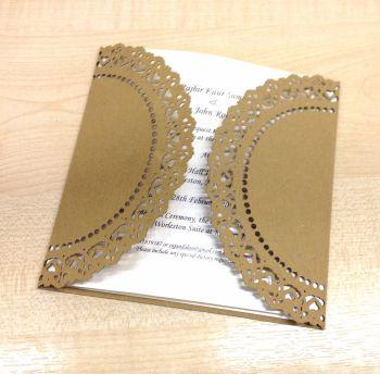 Doily lace laser cut invitation in Kraft Card finish