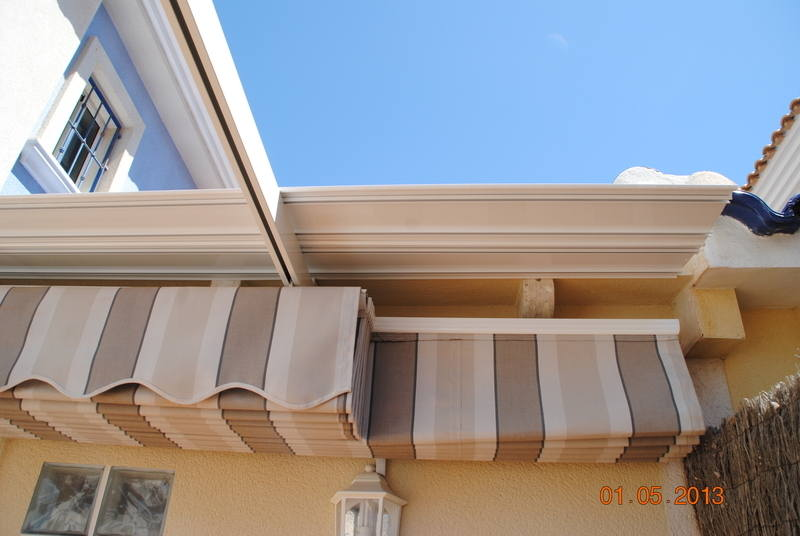 concertina type awning in closed position
