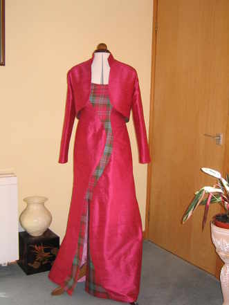 evening dress formal long wine tartan trim