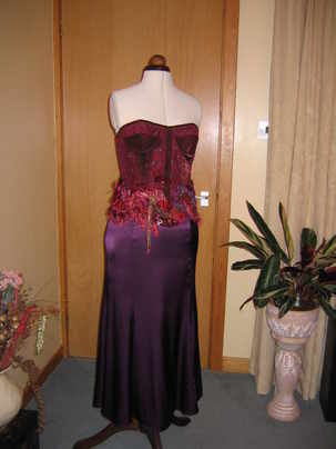 evening dress wine bodice