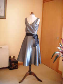 evening dress silver black band