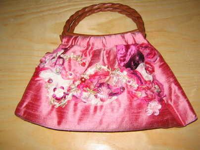 bag floral pink twist
