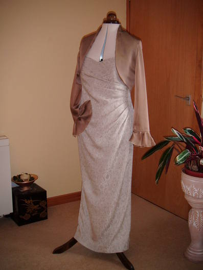 evening dress cream with fawn jacket