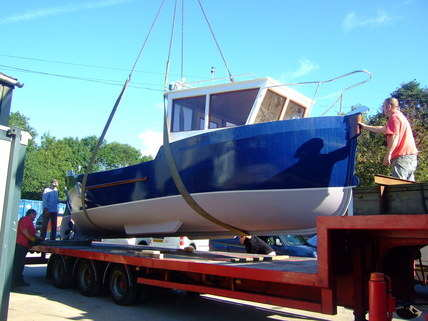 life boat finished on lorry ready to go