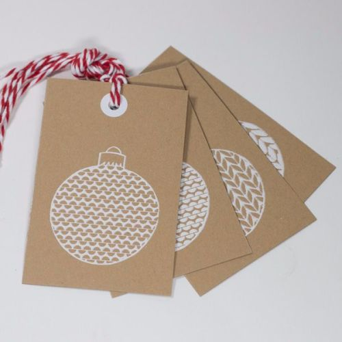 Bauble Print Tags on Kraft Card
