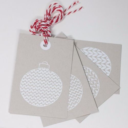 Bauble Print Tags on Silver Card