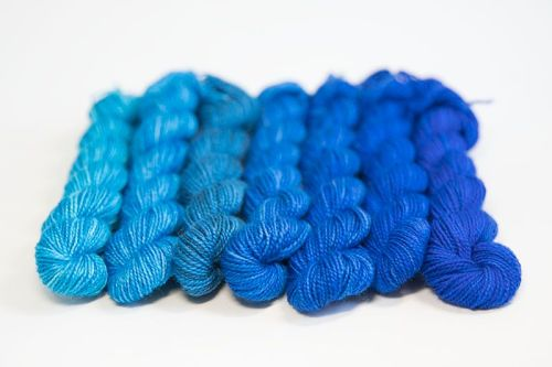 <!-- 002 -->4ply BFL & nylon magnificent seven mini skein set - Blue to Tur