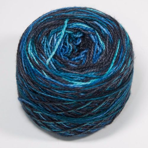4ply self striping BFL & nylon - Depths of the Ocean 17AA