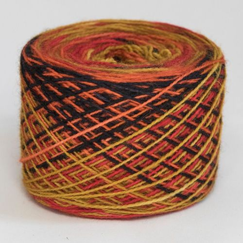 4ply self striping BFL & nylon - Glowing Ember 18C