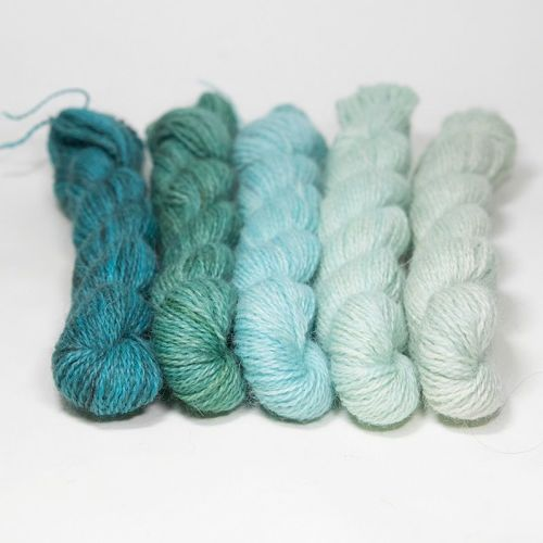 <!-- 004 -->One Farm Yarn - Turquoise Fades mini skeins 18E