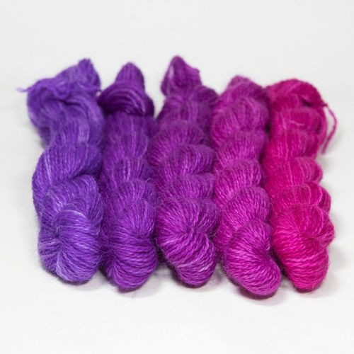 <!-- 004 -->One Farm Yarn - Violet to Pink mini skeins 18E