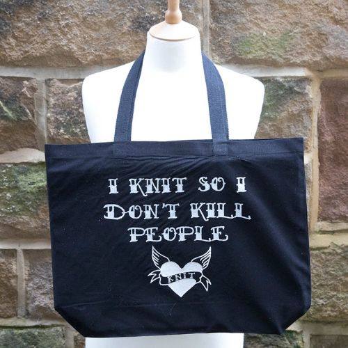 Canvas Tote Bag - I KNIT SO I DON'T KILL PEOPLE