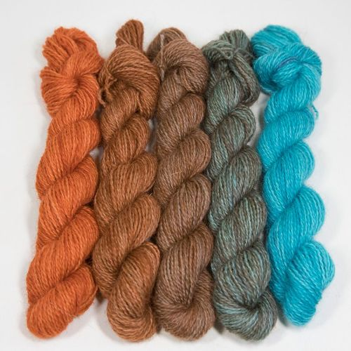 <!-- 004 -->One Farm Yarn - Copper to Turquoise mini skeins 18N