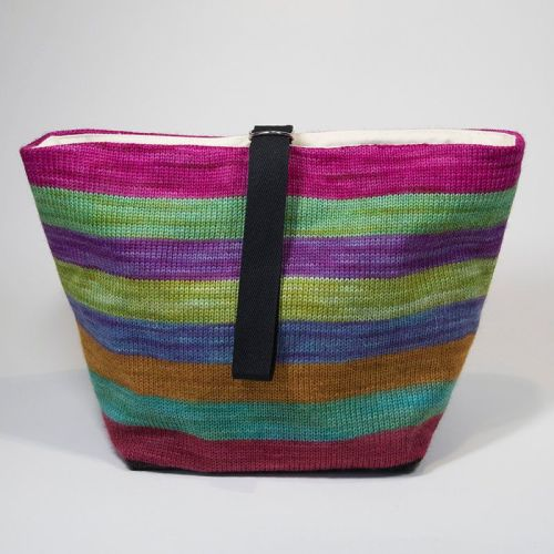 The Ultimate Knitted Project Bag - Mixed Up Rainbow (large)
