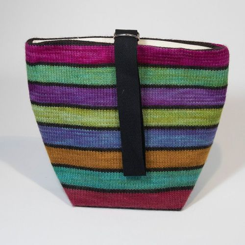 The Ultimate Knitted Project Bag - Black Mixed Up Rainbow (small)