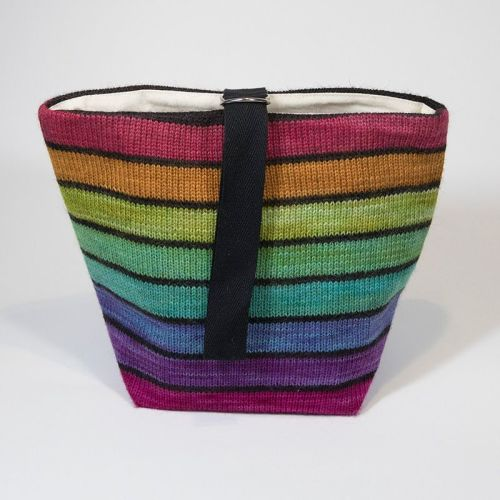 The Ultimate Knitted Project Bag - Black Rainbow (small)