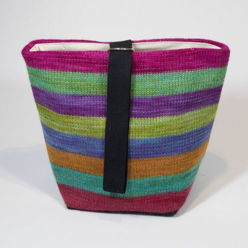 The Ultimate Knitted Project Bag - Mixed Up Rainbow (small)