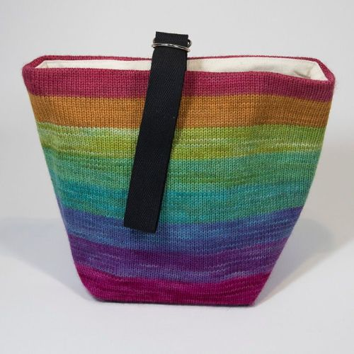 The Ultimate Knitted Project Bag - Rainbow (small)