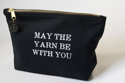 Zipped Cotton Bag - MAY THE YARN BE WITH YOU