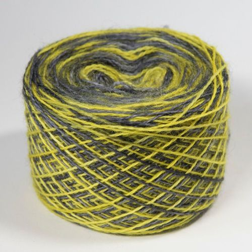4ply BFL and Mohair - Bold Self Striping Grellow 18Q