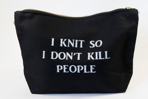 Zipped Cotton Bag - I KNIT SO I DON'T KILL PEOPLE