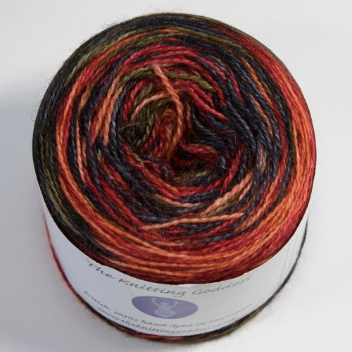 4ply BFL and Mohair - Self Striping - Ember 18AA