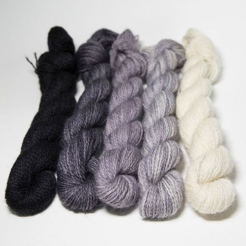 <!-- 004 -->One Farm Yarn - Black Fades mini skeins 18A