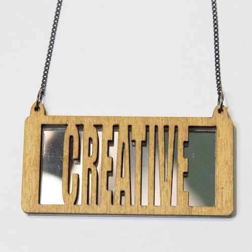 creative wood and perspex necklace