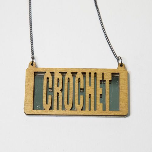 crochet wood and perspex necklace