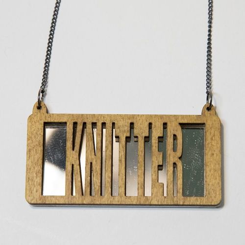knitter wood and perspex necklace