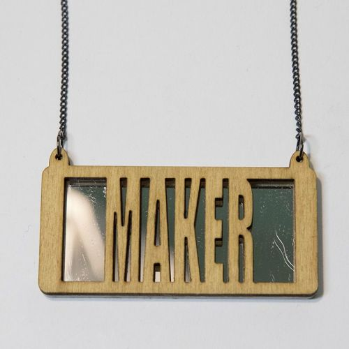 maker wood and perspex necklace