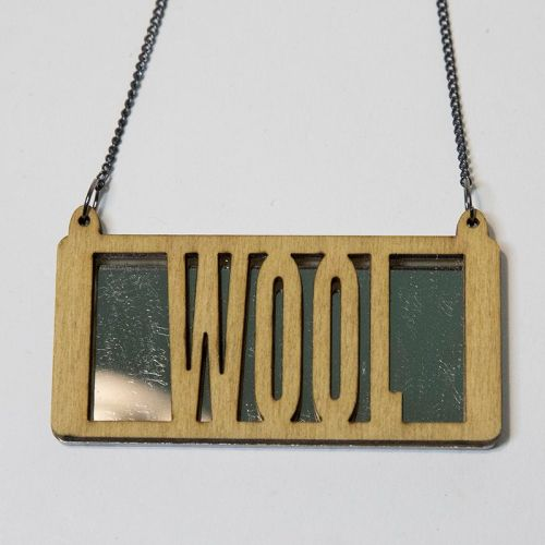 wool wood and perspex necklace