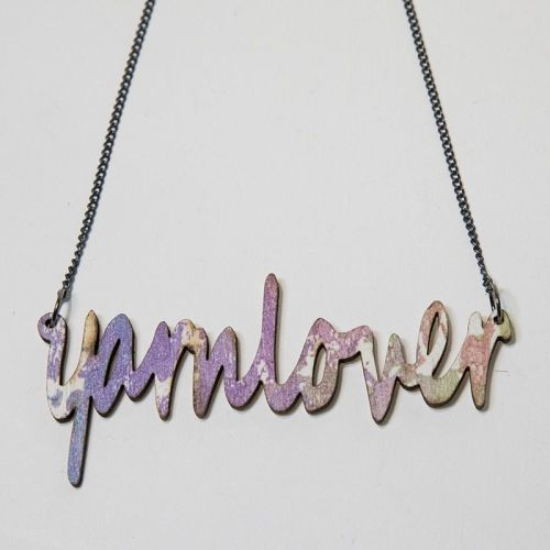 yarnlover screen print wooden necklace