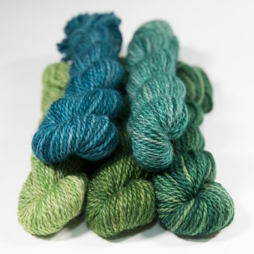 DK BFL Masham mini skeins - Green Collection