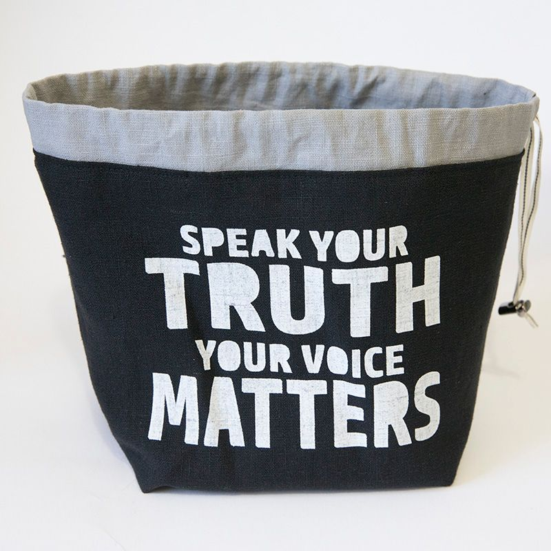 <!-- 001 -->The Small Linen Project Bag - Speak Your Truth