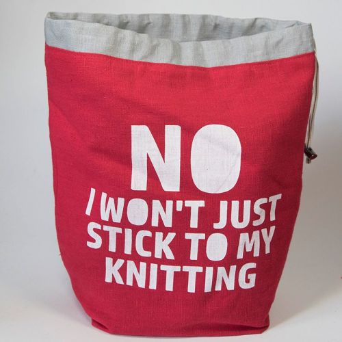 <!-- 001 -->The Medium Linen Project Bag - NO I WON'T JUST STICK TO MY KNIT