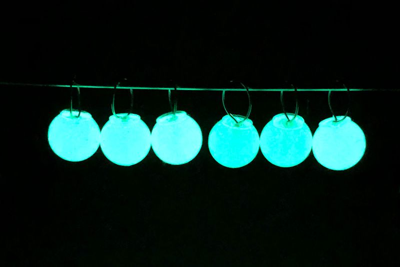 Resin stitch markers - glow in the dark plain
